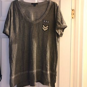 Lane Bryant heather olive military patch top 14/16